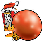 Clip Art Graphic of a Book Cartoon Character Wearing a Santa Hat, Standing With a Christmas Bauble