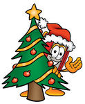 Clip Art Graphic of a Book Cartoon Character Waving and Standing by a Decorated Christmas Tree