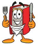 Clip Art Graphic of a Book Cartoon Character Holding a Knife and Fork