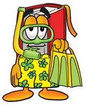 Clip Art Graphic of a Book Cartoon Character in Green and Yellow Snorkel Gear