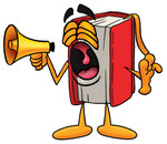 Clip Art Graphic of a Book Cartoon Character Screaming Into a Megaphone