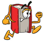 Clip Art Graphic of a Book Cartoon Character Running