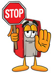 Clip Art Graphic of a Book Cartoon Character Holding a Stop Sign