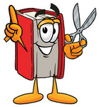Clip Art Graphic of a Book Cartoon Character Holding a Pair of Scissors