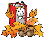 Clip Art Graphic of a Book Cartoon Character With Autumn Leaves and Acorns in the Fall