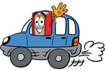 Clip Art Graphic of a Book Cartoon Character Driving a Blue Car and Waving