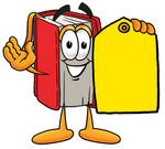 Clip Art Graphic of a Book Cartoon Character Holding a Yellow Sales Price Tag
