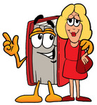 Clip Art Graphic of a Book Cartoon Character Talking to a Pretty Blond Woman