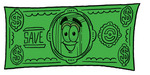Clip Art Graphic of a Book Cartoon Character on a Dollar Bill