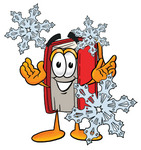 Clip Art Graphic of a Book Cartoon Character With Three Snowflakes in Winter