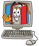 Clip Art Graphic of a Book Cartoon Character Waving From Inside a Computer Screen