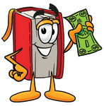Clip Art Graphic of a Book Cartoon Character Holding a Dollar Bill