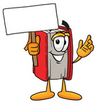 Clip Art Graphic of a Book Cartoon Character Holding a Blank Sign