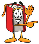 Clip Art Graphic of a Book Cartoon Character Waving and Pointing
