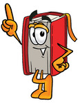 Clip Art Graphic of a Book Cartoon Character Pointing Upwards