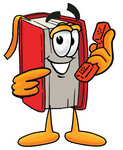 Clip Art Graphic of a Book Cartoon Character Holding a Telephone
