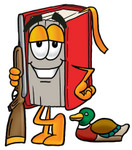 Clip Art Graphic of a Book Cartoon Character Duck Hunting, Standing With a Rifle and Duck