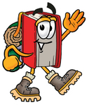 Clip Art Graphic of a Book Cartoon Character Hiking and Carrying a Backpack