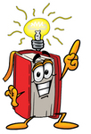 Clip Art Graphic of a Book Cartoon Character With a Bright Idea