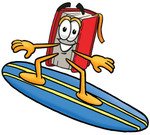 Clip Art Graphic of a Book Cartoon Character Surfing on a Blue and Yellow Surfboard