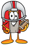 Clip Art Graphic of a Book Cartoon Character in a Helmet, Holding a Football