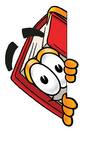 Clip Art Graphic of a Book Cartoon Character Peeking Around a Corner
