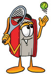 Clip Art Graphic of a Book Cartoon Character Preparing to Hit a Tennis Ball
