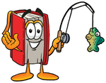 Clip Art Graphic of a Book Cartoon Character Holding a Fish on a Fishing Pole