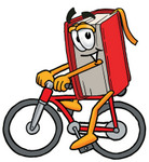 Clip Art Graphic of a Book Cartoon Character Riding a Bicycle