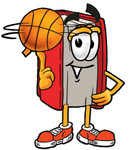 Clip Art Graphic of a Book Cartoon Character Spinning a Basketball on His Finger