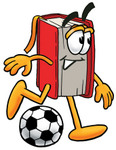 Clip Art Graphic of a Book Cartoon Character Kicking a Soccer Ball