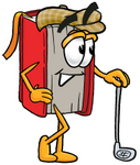 Clip Art Graphic of a Book Cartoon Character Leaning on a Golf Club While Golfing