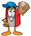 Clip Art Graphic of a Book Cartoon Character Catching a Baseball With a Glove