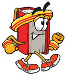 Clip Art Graphic of a Book Cartoon Character Speed Walking or Jogging