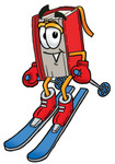 Clip Art Graphic of a Book Cartoon Character Skiing Downhill
