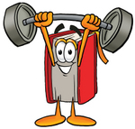 Clip Art Graphic of a Book Cartoon Character Holding a Heavy Barbell Above His Head