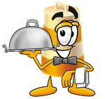 Clip art Graphic of a Construction Road Safety Barrel Cartoon Character Dressed as a Waiter and Holding a Serving Platter