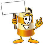 Clip art Graphic of a Construction Road Safety Barrel Cartoon Character Holding a Blank Sign