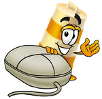 Clip art Graphic of a Construction Road Safety Barrel Cartoon Character With a Computer Mouse