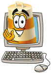Clip art Graphic of a Construction Road Safety Barrel Cartoon Character Waving From Inside a Computer Screen