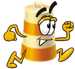 Clip art Graphic of a Construction Road Safety Barrel Cartoon Character Running