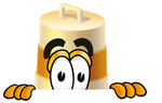 Clip art Graphic of a Construction Road Safety Barrel Cartoon Character Peeking Over a Surface