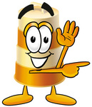 Clip art Graphic of a Construction Road Safety Barrel Cartoon Character Waving and Pointing