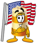 Clip art Graphic of a Construction Road Safety Barrel Cartoon Character Pledging Allegiance to an American Flag
