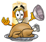 Clip art Graphic of a Construction Road Safety Barrel Cartoon Character Serving a Thanksgiving Turkey on a Platter
