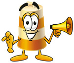 Clip art Graphic of a Construction Road Safety Barrel Cartoon Character Holding a Megaphone