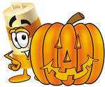 Clip art Graphic of a Construction Road Safety Barrel Cartoon Character With a Carved Halloween Pumpkin