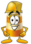 Clip art Graphic of a Construction Road Safety Barrel Cartoon Character Wearing a Helmet
