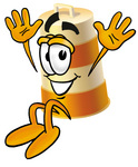 Clip art Graphic of a Construction Road Safety Barrel Cartoon Character Jumping