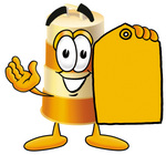 Clip art Graphic of a Construction Road Safety Barrel Cartoon Character Holding a Yellow Sales Price Tag